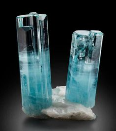 Aquamarine on Feldspar - Nyet-Bruk, Braldu Valley, Skardu District, Baltistan, Gilgit-Baltistan, Pakistan Size: 5.5 x 3.6cm