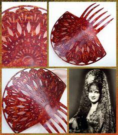 Large Spanish mantilla style hair comb by ElrondsEmporium on Etsy