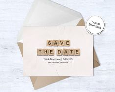 Save The Date Cards  Downloadable Card  Wedding Announcement image 3 Happy Birthday Printable, 30th Birthday Cards, Announcement Cards, Wedding Announcements, Printable Cards, Printables, Scrabble Wedding, Scrabble Tile Art, Card Wedding