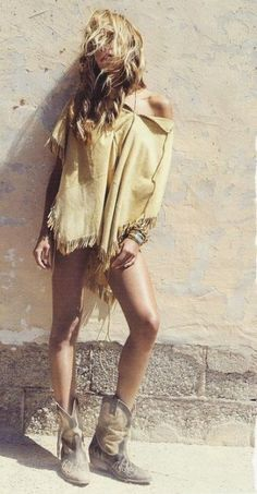 Summer boho chic fringe poncho top, modern hippie cowboy boots, gypsy style stacked jewelry bracelets. For the BEST Bohemian fashion trends for 2014 FOLLOW http://www.pinterest.com/happygolicky/the-best-boho-chic-fashion-bohemian-jewelry-gypsy-/