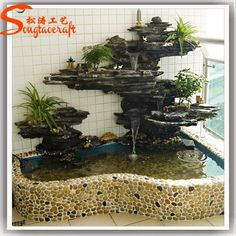 Source hot sale marble stone/ culture stone/ fiber glass stone/wall stone artificial stone molds rock waterfall fountain on m.alibaba.com Stone Garden Fountains, Indoor Water Fountains, Indoor Fountain, Indoor Water Features, Water Features In The Garden, Indoor Zen Garden, Small Water Gardens, Garden Pond Design, Waterfall Fountain