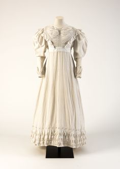 OBJECT 32 - White cutwork hand-embroidered cotton dress, 1824. Fashion Museum Bath.