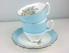 Vintage Crown Staffordshire Bone China Tea Cup and Saucer Set, Grey Rose Design, Powder Blue White English Tea Cup and Saucer Set