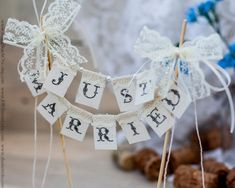 SMALL Lace Just Married Wedding Cake Topper by RusticBeachChic, $22.00