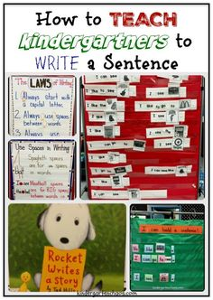 Several lesson ideas and anchor charts to use when Teaching Kindergartners How to Write a Sentence. Uses the gradual release model to full implication.