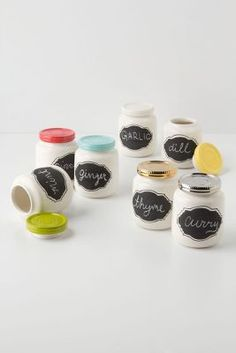 Chalkboard Spice Jar - blue and yellow