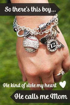 We love him we love his sports, #baseball moms forever. Baseball jewelry from inspiredsilver