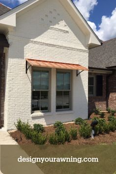 The Classic Style Window Awning in Natural Copper with the Smith Scrolls. Metal Awnings For Windows, House Awnings, House Siding, Farmhouse Windows, Modern Farmhouse Exterior, Outdoor Window Awnings, Patio Awnings, Awning Over Door, Backyard Fireplace