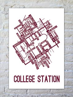 A street map poster of College Station!