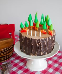 Easy DIY Planes Fire & Rescue Birthday Cake for your little fireman. This cute forest trees and flames cake is simple for beginners. Firemen Dusty, Blaze, Dipper and Windlifter are on their way to put out the forest fire in Piston Peak National Park! A trees birthday cake would be cute for a camping birthday party too.
