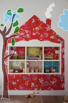 Image result for doll house bookcase with wall paper behind