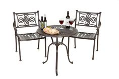 This is our biggest metal bistro set which is maintenance free and no winter storage in necessary. Outdoor Folding Table, Outdoor Tables And Chairs, Outdoor Dining Set, Outdoor Decor, Cast Aluminum Patio Furniture, Metal Garden Furniture, Outdoor Furniture, 3 Piece Bistro Set, Gravel Garden