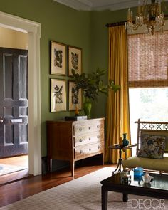 Trendy Living Room Paint Colors And Color Combinations In 2016 Room Paint Colors, Paint Colors For Living Room, Dining Room Colors, Wall Colors, Living Room Green, Home And Living, Yellow Curtains, Wall Curtains, Blinds Curtains