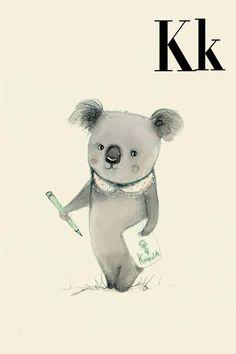 K für Koala - Alphabet Kunst - Alphabet drucken - ABC Wand Kunst - ABC print - Kinderzimmer - Kinderzimmer Dekor - Kinder Zimmer Dekor - Kin...