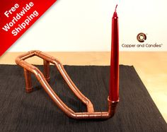 #copper candle holder #Industrial Steampunk Copper Candle Holder #Plumbing Fittings Modern Deco House Furniture Unique copper candle holder