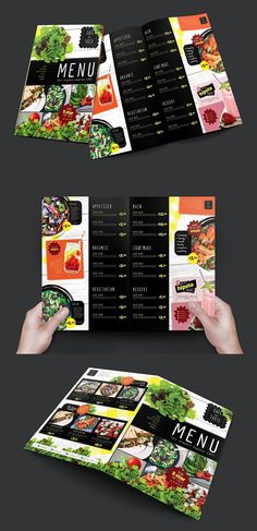 Folding Salad Menu Template This folding Salad Menu Template features inside and outside page designs and comes in both Photoshop & Illustrator format. Salad Menu, Salad Bar, Menu Template, Brochure Template, Templates, Salad Shop, Salad Design, Food Menu Design, Recipe Books