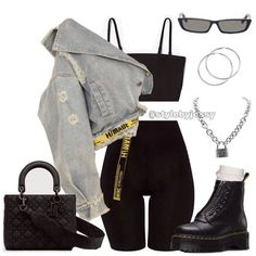 "Get the ""Elena Knit Biker Set"" and ""Mind Your Business Jacket"" by (. - New Outfits Cute Casual Outfits, Edgy Outfits, Swag Outfits, Retro Outfits, Grunge Outfits, Teen Fashion Outfits, Look Fashion, Girl Outfits, Summer Outfits"