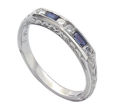 Whitehouse Brothers Style #2405SW - Ladies Hand Engraved Sapphire and Diamond wedding band.
