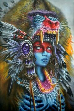 Every kit gives you a chance to create a work of art you can be proud of. This diamond painting kit Tattoo Indio, Indian Skull Tattoos, Egypt Tattoo, Native Tattoos, American Indian Tattoos, Native American Girls, Native American Paintings, Aztec Art, Montage Photo