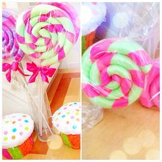 Giant lollipops for candyland party... It's a pool noodle rolled up and wrapped! ♥cute idea♥