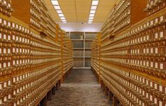 """Copyright Card Catalog: One of the largest card catalogs in the world, the copyright card catalog comprises approximately 46 million index cards. Photo by Cecelia Rogers, 2010."" -- Read more about it here: http://blogs.loc.gov/copyrightdigitization/2011/12/public-access-to-historical-records/ and see more of this card catalog here: http://en.wikipedia.org/wiki/File:Copyright_Card_Catalog_Files.jpg"