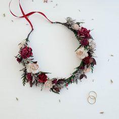 Beige burgundy flower crown greenery Bridal floral crown | Etsy Floral Wedding, Rustic Wedding, Wedding Flowers, Rustic Flowers, Dried Flowers, Crown Images, Flower Headpiece Wedding, Burgundy Flowers, Gypsophila