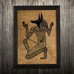 Burlap print Anubis art God poster Religion print BLP23