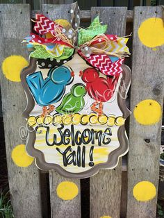 Welcome Y'all Birdie Door Hanger by WhimsyGirlArt on Etsy