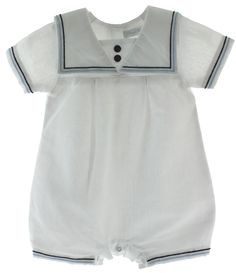 Hiccups Childrens Boutique - Infant Boys White Sailor Romper Outfit Blue Trim, $35.00 (http://www.hiccupschildrensboutique.com/infant-boys-white-sailor-romper-outfit-blue-trim/)