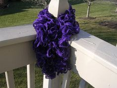 Scarf purple ruffled sashey knitted scarf by felting4you on Etsy, $18.00