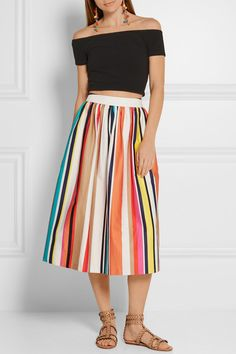 Multicolored stretch-cotton poplin Hook and zip fastening at back 97% cotton, 3% elastane; lining: 52% nylon, 48% polyester Dry clean Designer color: Caravan Stripe Imported