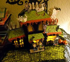 Melissa's Haunted House screams Halloween!  From ELMHURST HOLLOW SVG KIT  The colors are dripping with perfection!