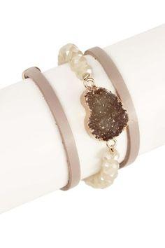 Taupe Faux Druzy Convertible Wrap Bracelet/Necklace