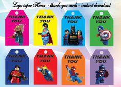 Instant DL Lego superhero thank you Tags- Lego superhero bitthday, Lego superhero party, Printable Tags by alisprint on Etsy https://www.etsy.com/listing/261395089/instant-dl-lego-superhero-thank-you-tags
