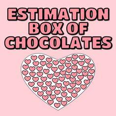 Valentine's Day Estimation Box of Chocolates Chocolate Hearts, Chocolate Box, Counting Activities, Just Giving, Chocolates, Elementary Schools, Icon Design, Keys, Valentines Day