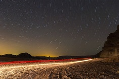 startrails over wadi rum