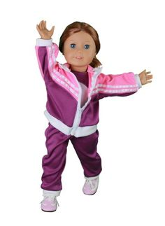 Doll Clothes for American Girl Dolls: 4 Piece Gymnastics Star Outfit - 'Dress Along Dolly' (Includes Performance Leotard Warmup Pants Pullover and sneakers): From the makers of the best selling Rid...