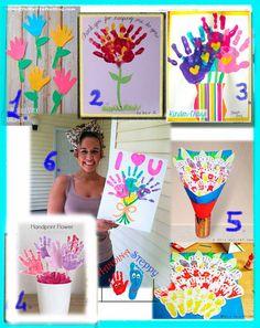 Collage di 6 Idee Floreali per la Festa della Mamma, realizzate con le Impronte in Trasformazione dei Bambini.