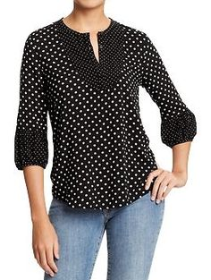 Women's Mixed-Dots Crepe Blouses | Old Navy