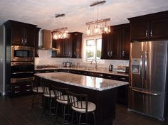 dark cabinets light granite Kitchen Modern with Cambria cherrywood Chocolate Cherry