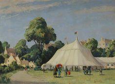 "Leonard Pike ""Going to the Circus"" (c. Village Fete, When I Dream, English Village, Art Uk, Vintage Prints, 1940s, British Artists, Cocoa, Britain"