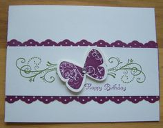 butterfly birthday by nilakias - Cards and Paper Crafts at Splitcoaststampers; Butterfly prints; priceless, create a cupcake stamp sets; rich razzleberry, old olive