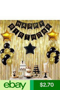 Glitter Gold Letters Happy Birthday Bunting Garland Party Hanging Banner Decor Y 50th Birthday Party Decorations, Happy Birthday Bunting, Gold Birthday Party, Birthday Backdrop, 30th Birthday Parties, 30th Birthday Ideas For Men Party, Surprise Party Decorations, Roaring 20s Birthday Party, Black And Gold Party Decorations