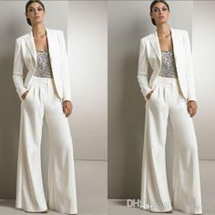 hxhdress 2018 New Modern White Three Pieces Mother of The Bride Pant Suits for Silver Sequined Wedding Guest Dress Plus Size Dresses with Jackets 127 Wedding Guest Jackets, Wedding Guest Pants, Wedding Robe, Wedding Veil, Party Wedding, Mermaid Wedding, Mother Of The Groom Suits, Mother Of Groom Dresses, Mothers Dresses