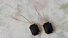 Black Earrings made with Vintage Acrylic by ArtistInJewelry
