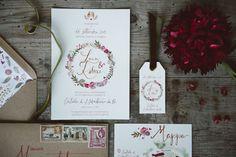 kraft + marsala floral stationery http://weddingwonderland.it/2016/01/inspiration-poesia-bohemien.html