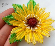 Beaded flowers Yellow flower Scrunchy Flower Sunflower from beads Hair accessories Yellow sunflower Sunflower hair band Beautiful gift - Katie Norton - Scrunchies Beaded Flowers Patterns, French Beaded Flowers, Beading Patterns, Sunflower Pattern, Yellow Sunflower, Yellow Flowers, Bead Jewellery, Beaded Jewelry, Barrette