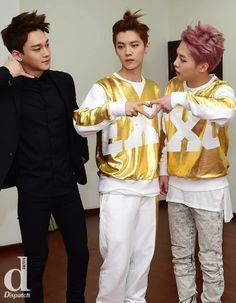 #chen #luhan #xiumin ~Love Luhan's little up do :3 and Xiumin's hair color!