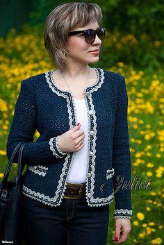 Crochet shawl cardigan sweater coats 29 new ideas Gilet Crochet, Crochet Cardigan Pattern, Crochet Poncho, Bolero Pattern, Crochet Baby, Chanel Style Jacket, Jacket Style, Cardigan Fashion, Crochet Clothes