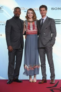 Andrew Garfield, Emma Stone and Jamie Foxx at The Amazing Spider-Man 2 premiere in Berlin.